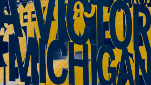 zoom background of word victor for michigan